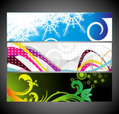 Abstract wave banners multi-colored Royalty Free Stock Photos