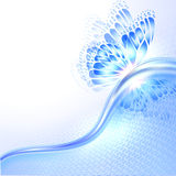 Abstract wave blue background with butterfly Royalty Free Stock Image