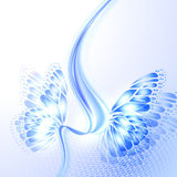 Abstract wave blue background with butterfly Stock Image