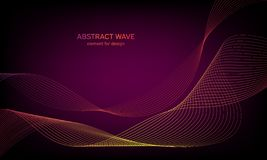 Abstract wave element for design. Digital frequency track equalizer. Stylized line art background. Colorful shiny wave with lines stock images