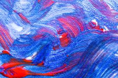 Abstract wave hand drawn acrylic painting creative art backgroun. D.Closeup shot of brushstrokes colorful acrylic paint on canvas with brush strokes overlap of Royalty Free Stock Photo