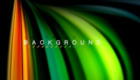 Fluid mixing colors, vector wave abstract background. Abstract wave lines fluid rainbow style color stripes on black background. Vector artistic illustration for Royalty Free Stock Images