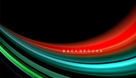 Fluid mixing colors, vector wave abstract background. Abstract wave lines fluid rainbow style color stripes on black background. Vector artistic illustration for Royalty Free Stock Photo