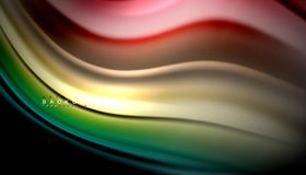 Fluid mixing colors, vector wave abstract background. Abstract wave lines fluid rainbow style color stripes on black background. Vector artistic illustration for vector illustration