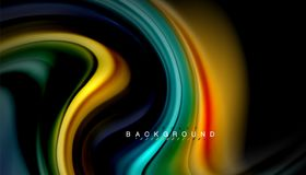 Fluid mixing colors, vector wave abstract background. Abstract wave lines fluid rainbow style color stripes on black background. Vector artistic illustration for stock illustration