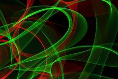 Glowing waves for creative backgrounds. Abstract wave motion of colorful glowing lines on dark background for creative, dynamic, interesting backgrounds and stock illustration
