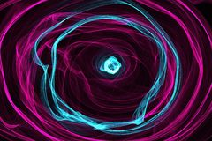Abstract wave motion glowing lines on dark background. Circle Waves of glowing lines in different shapes and colors Royalty Free Stock Photos
