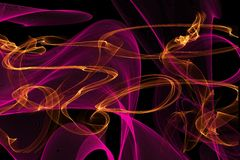 Abstract wave motion glowing lines on dark background. Waves of glowing lines in different shapes and colors stock illustration