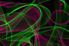 Abstract wave motion glowing lines on dark background. Waves of glowing lines in different shapes and colors vector illustration
