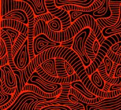 Abstract wave red color outline, black background. Doodle decorative pattern. Isolated pattern. Vector hand drawn bohemian fantasy psychedelic background vector illustration
