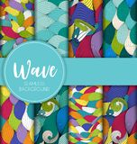 Abstract Wave Seamless Pattern Collection Set Background. Vector Illustration Stock Photo