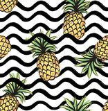 Abstract wave seamless pattern with pineapple. Stylish geometric. Background. Fruit ornamental wallpaper. Tropical food stripe texture stock illustration