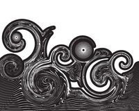 Abstract wave swirls. Abstract art with swirling line waves Stock Photo