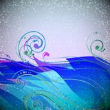 Abstract wave vector background with swirls. Royalty Free Stock Photos