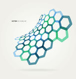 Abstract wave Vector hexagons template Stock Images
