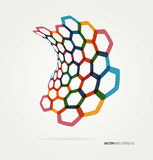 Abstract wave Vector hexagons template Stock Photography
