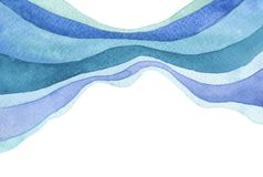 Abstract wave watercolor painted background. Paper texture. Isolated stock photos