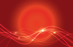 Abstract waved lines. On red background Royalty Free Stock Images