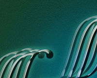Abstract waves. Illustration of stylized waves on a textured green/blue background Stock Photo