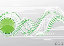 Abstract waves. Green circle making waves on a gray background Royalty Free Stock Images