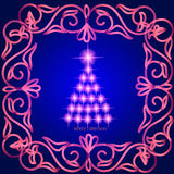 Abstract waves background with christmas tree. Illustration in blue and pink colors. Royalty Free Stock Photo