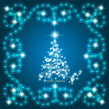 Abstract waves background with christmas tree. Illustration in blue and white colors. Abstract background with christmas tree, lines, stars and ornaments Stock Image