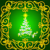 Abstract waves background with christmas tree. Illustration in gold, green and white colors. Abstract background with christmas tree, lines, stars and ornaments Stock Images