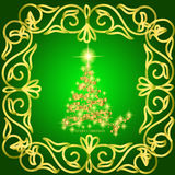 Abstract waves background with christmas tree. Illustration in green and gold colors. Abstract background with christmas tree, lines, stars and ornaments Stock Photos