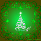 Abstract waves background with christmas tree. Illustration in green and white colors. Abstract background with christmas tree, lines, stars and ornaments Stock Image