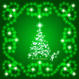 Abstract waves background with christmas tree. Illustration in green and white colors. Abstract background with christmas tree, lines, stars and ornaments Royalty Free Stock Photography