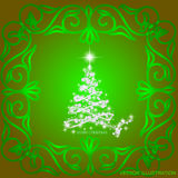 Abstract waves background with christmas tree. Illustration in green and white colors. Vector illustration. Abstract background with christmas tree, lines Stock Photo
