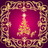 Abstract waves background with christmas tree. Illustration in lilac and gold colors. Abstract background with christmas tree, lines, stars and ornaments Royalty Free Stock Photos