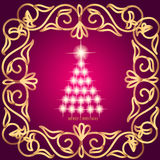 Abstract waves background with christmas tree. Illustration in lilac and gold colors. Abstract background with christmas tree, lines, stars and ornaments Vector Illustration