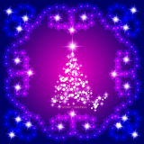 Abstract waves background with christmas tree. Illustration in lilac and white colors. Abstract background with christmas tree, lines, stars and ornaments Stock Image
