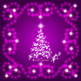 Abstract waves background with christmas tree. Illustration in lilac and white colors. Abstract background with christmas tree, lines, stars and ornaments Stock Photography