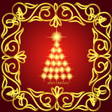 Abstract waves background with christmas tree. Illustration in red and gold colors. Abstract background with christmas tree, lines, stars and ornaments vector illustration
