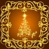 Abstract waves background with christmas tree. Illustration in yellow and gold colors. Abstract background with christmas tree, lines, stars and ornaments Royalty Free Stock Images