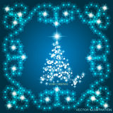Abstract waves background with christmas tree. Vector illustration in blue and white colors. Abstract background with christmas tree, lines, stars and ornaments Royalty Free Stock Photo