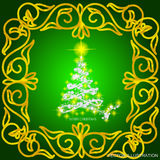 Abstract waves background with christmas tree. Vector illustration in green, white and gold colors. Abstract background with christmas tree, lines, stars and Royalty Free Stock Photo