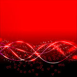 Abstract waves background in red colors. illustration. Abstract waves background with hearts. Bright illustration in red colors Stock Photo