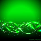 Abstract waves background. Vector illustration in green colors. Abstract waves background with lines and stars. Vector illustration in green colors with flashes Stock Images