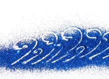 Abstract waves of blue glitter on white background with place for your text Stock Images