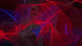 Abstract waves in blue,grey and red on black stock video footage
