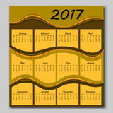 Abstract waves calendar 2017 year Royalty Free Stock Image