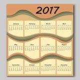 Abstract waves calendar 2017 year Royalty Free Stock Photo