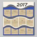 Abstract waves calendar 2017 year Royalty Free Stock Photos