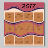 Abstract waves calendar 2017 year Stock Image
