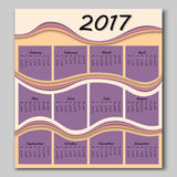 Abstract waves calendar 2017 year Royalty Free Stock Images