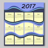 Abstract waves calendar 2017 year Royalty Free Stock Photography