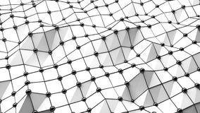 Abstract waves 3d geometric texture. On white background, with 3d shadowed mural. following the path with black pearls Stock Photo
